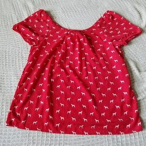 Old Navy Red Blouse with Dog Print and Bow